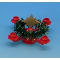 Puppenstubenartikel - Adventsleuchter mit Stern und Kranz