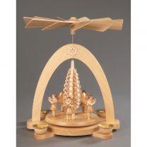 Pyramide, natur - 5 Engel mit Spanbaum