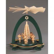 Pyramide, grün - 5 Engel mit Spanbaum
