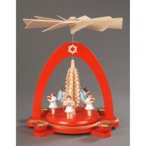Pyramide, rot - 5 Engel mit Spanbaum