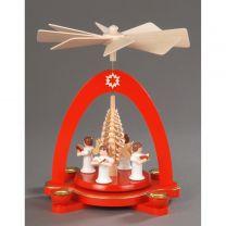 Pyramide, rot - 4 Engel mit Spanbaum