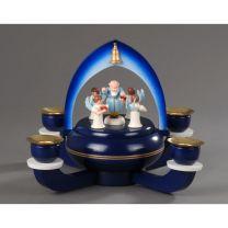 Weihnachtsleuchter mit Spieldose dblau - Petrus mit 4 Engel -Süsser die Glocken-