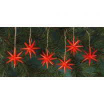 Christbaumschmuck, rot - kleine Weihnachtssterne, 6-teilig