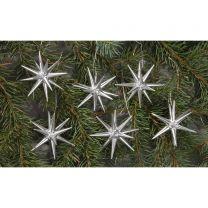 Christbaumschmuck, silber - kleine Weihnachtssterne, 6-teilig