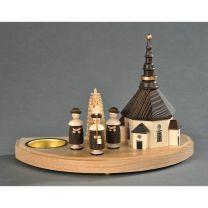 Kerzenhalter, natur - Seiffener Kirche mit Kurrende