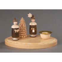 Kerzenhalter, natur - 2 Kurrendefiguren mit Mütze