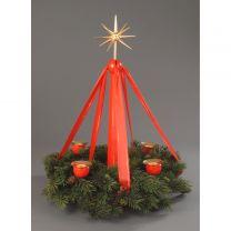 Adventsständer, rot - mit Band und Kerzen - ohne Kranz