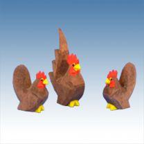 Chabo Hühner braun 3 tlg.