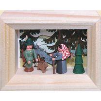 Miniatur im Rähmchen - Förster mit Buschweib`l