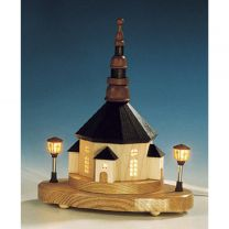 Seiffener Kirche auf Sockel mit elektrische Laternen und Innenbeleuchtung