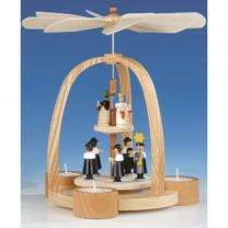 Teelichtpyramide mit Kurrende, Bergmann und Engel, bunt