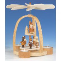Teelichtpyramide mit Weihnachtsmann und Striezelkinder, natur
