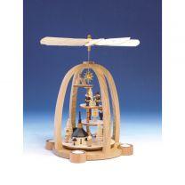 Teelichtpyramide Treppe m. Reh, Seiffener Kirche mit Kurrende u. Laternenkin-