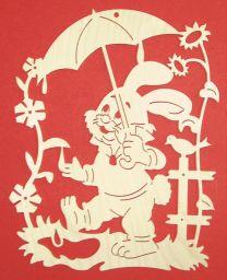 Fensterbilder - FB Hase mit Schirm