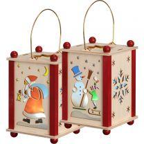 Erzgebirgische Laterne Weihnachtsmann und Schneemann  mit LED-Licht, Höhe: 14/21 cm