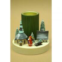 Teelichtleuchter - Winterdorf Seiffen mit Weihnachtsmann