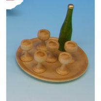 Puppenstubenartikel - Weinservice, rund