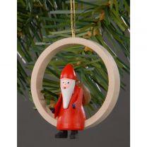 Christbaumschmuck - Weihnachtsmann im Holzring