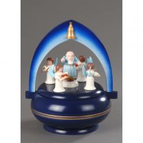 Spieldose, dunkelblau - Petrus mit 4 Engel -Süsser die Glocken-