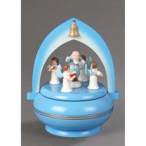Spieldose, hellblau - Petrus mit 4 Engel -Süsser die Glocken-
