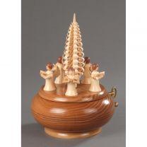Spieldose, natur - 5 Engel mit Spanbaum -Am Weihnachtsbaum-