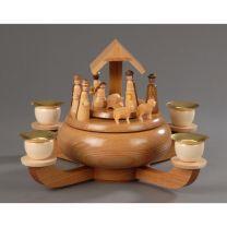 Weihnachtsleuchter mit Spieldose, natur - Christi Geburt -Stille Nacht-