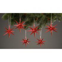 Christbaumschmuck, rot-metallik - kleine Weihnachtssterne, 6-teilig