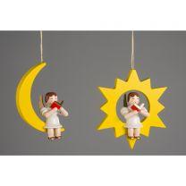 Christbaumschmuck - Engel im Stern und im Mond