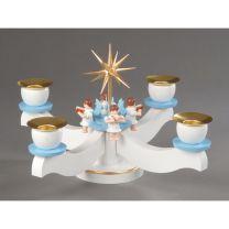 Adventsleuchter, weiß/blau - 4 sitzende Engel