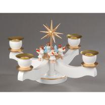 Adventsleuchter, weiß/bronze - 4 sitzende Engel
