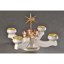 Adventsleuchter, weiß - 4 sitzende Engel