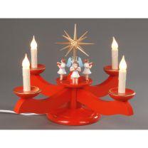 Adventsleuchter, rot - 4 stehende Engel
