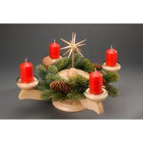 Adventsleuchter, natur - Weihnachtsstern/Plateau natur