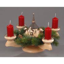 Adventsleuchter, natur - Seiffener Kirche mit Kurrende