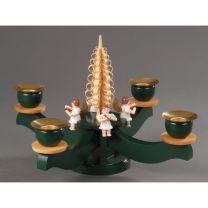Adventsleuchter, grün - 4 sitzende farbige Engel