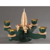 Adventsleuchter, grün - 4 sitzende Naturengel