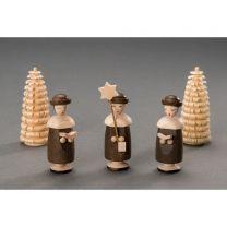 Kurrendefiguren mit Hut - 1Sternträger, 2 Buchträger, 2 Ringelbäume