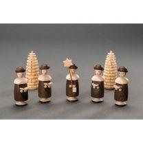 Kurrendefiguren mit Hut – 1Sternträger, 4 Buchträger, 2 Ringelbäume