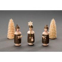 Kurrendefiguren mit Mütze – 1Sternträger, 2 Buchträger, 2 Ringelbäume