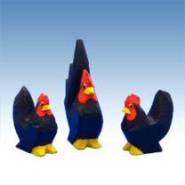 Chabo Hühner schwarz 3 tlg.