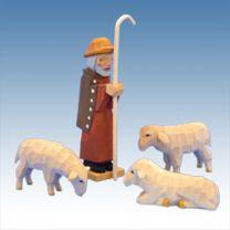 Schäfer mit drei Schafen