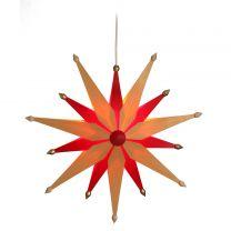 Weihnachtsstern aus Holz - exklusiv - natur/rot