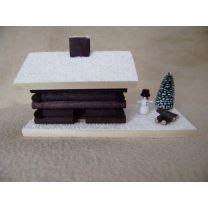 Räucherhaus - Blockhütte mit Schneemann