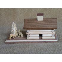 Räucherhaus - Blockhütte, natur mit Rehe