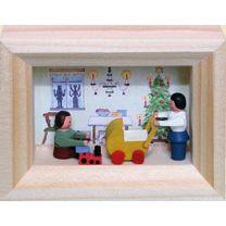 Miniatur im Rähmchen - Weihnachtsstube