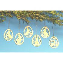 Baumbehang, 6 verschiedene Osterhasenmotive