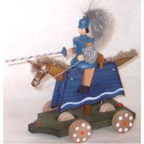 Fahrspiel - Ritter, blau mit Schild und Lanze