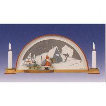 Waldhaus mit Weihnachtsmann und el. Hintergrundbeleuchtung