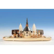 Kerzenhalter Sockel mit Teelicht, Seiffener Kirche, Laternenkinder und Kurrende, natur