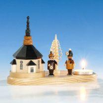 Kerzenhalter mit Kirche und Laternenkinder, natur